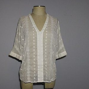 Sheer embroidered top Large